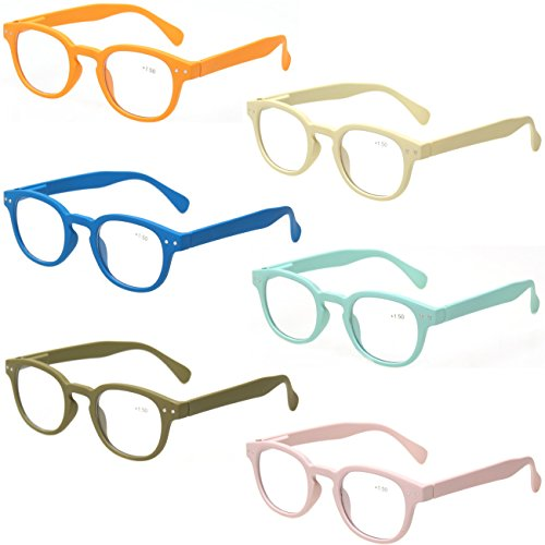 Reading Glasses 6 Pack Great Value Quality Readers Spring Hinge Color Glasses (6 Pairs MIx Color, 1.25)