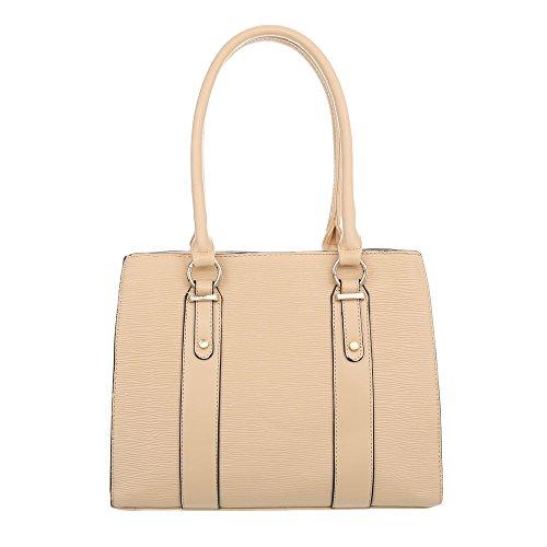 Ital-Design Damen-Tasche Mittelgroße Schultertasche Handtasche Kunstleder Apricot TA-K678