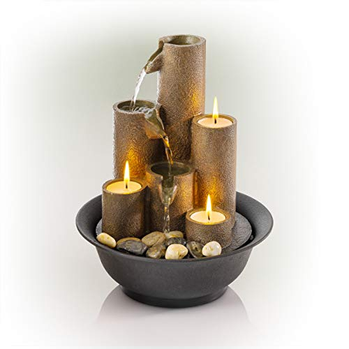 Alpine Corporation 28 cm Tall Indoor Tiered Column Tabletop Fountain with 3...