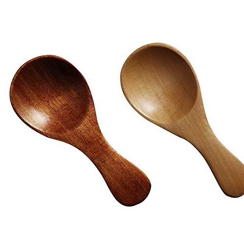 YUNCHENG 2 stücke Mode Holz Gewürz Scoop WURHLERWARE Kaffee Tee Kleine Mini Zucker Löffel Salz Holz Löffel Kochen Werkzeuge Küche Gadgets (Color : 8.5x3.5cm 2pc)