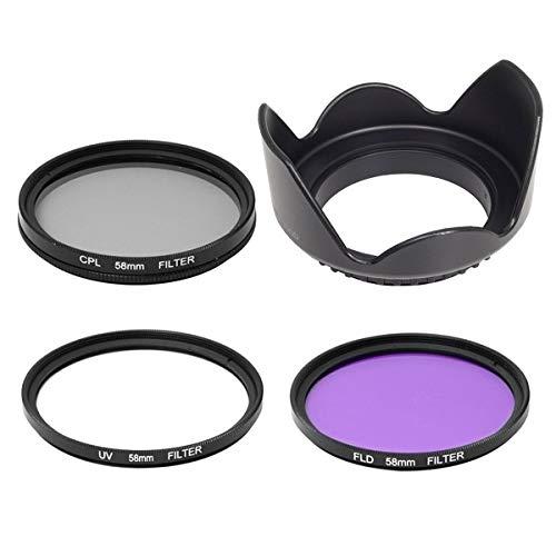 SHOPEE 58mm SAFTEY UV CPL FLD Filter Kit + lens hood for CANON Rebel XT EOS 18-55mm 1100D 550D 600D 650D 1000D 700D 55-250MM LENS 58MM THREAD