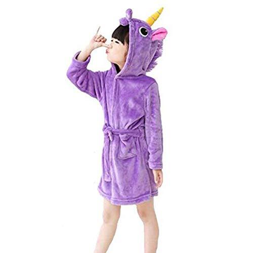 JZLPIN Kleinkind Kinder Flanell Bademantel Einhorn Bademantel mit Kapuze Pyjamas Jungen Mädchen Nachtwäsche Lila 120cm/5 Jahre