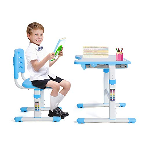 Kids Desk and Chair Set, Height Adjustable Ergonomic Children Study Table and Chair Set Interactive Workstation with Tilting Desktop and Storage Drawer for Studying, Reading and Drawing- Blue
