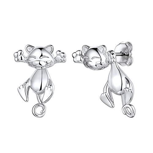 ChicSilver 925 Katze Ohrringe für Damen und Mädchen Cute Katze Ohrstecker mit Geschenkebox für Kinder und Jugendlichen