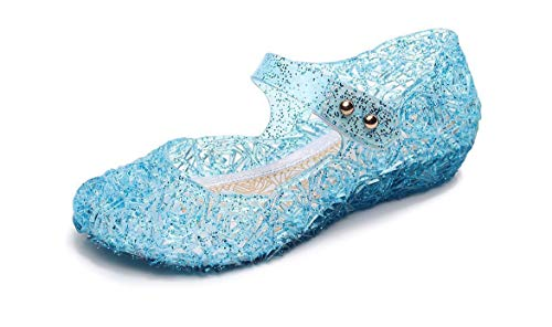 Ortarco Toddler Girl Jelly Shoes Princess Birthday Flat Sandal for Little Kids Blue 8.5