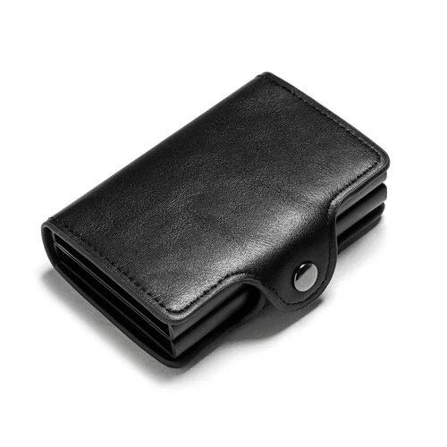 Black Ym0011 Card Holder Wallet Rfid Blocking Double Metal Box Credit Card Aluminium Leather Business Card Case Wallet Purse