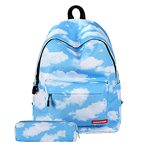 Panegy Mädchen Schulrucksack Damen Schulranzen Freizeitrucksack Weiße Wolkenmuster Rucksack mit Stifttaschen
