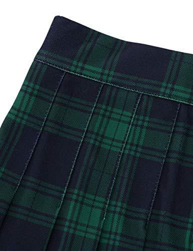 MUADRESS 9005 Falda Mujer de Patinadora a Cuadros para Fiesta Escolar Vacaciones Minifalda Klit Escocesa de Cintura Alta Enrejado Verdes L