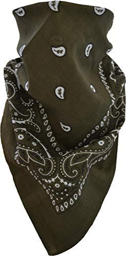 normani 3, 5 oder 10 x Bandana Biker Kopftuch Baumwoll Halstuch 55x55 wählbar Farbe Oliv/Schwarz Größe 5 Stück