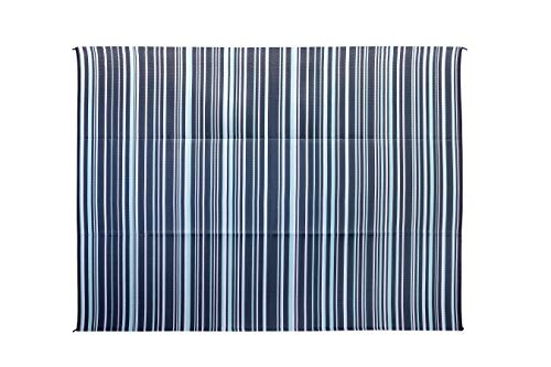 Camco Large Reversible Outdoor Patio Mat-Mold and Mildew Resistant, Easy to Clean, Perfect for Picnics, Cookouts, Camping, and The Beach (9' x 12', Green and White Striped Design) (42864)