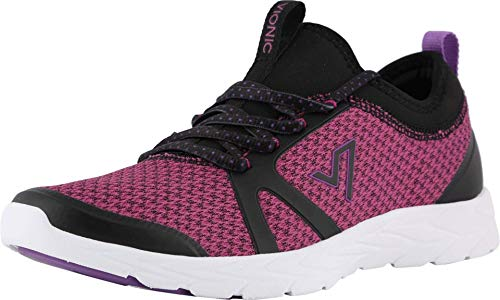 Vionic Women's Brisk Alma Lace-up Sneakers - Ladies Walking Shoes with Concealed Orthotic Arch Support Black and Pink 7 M US