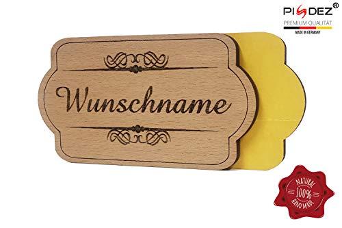 PISDEZ Selbstklebende rustikale Namensschild aus Holz Buche - Haustürschild/Türschild für außen und drinnen geeignet 10 x 5,4 cm - Form 2