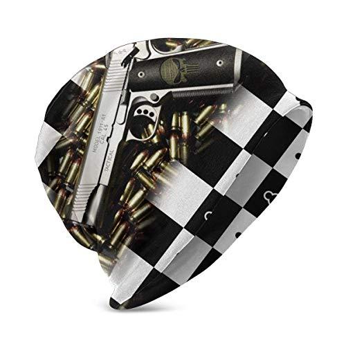 Lawenp Gorro de Punto de ajedrez de ajedrez Cuadrado Blanco y Negro, Gorro clido Tejido de Invierno para nio y nia