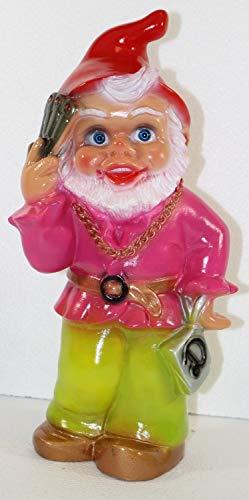 Gartenzwerg Deko Garten Figur Zwerg Transgender stehend als Frau Verkleidet aus Kunststoff H 32 cm