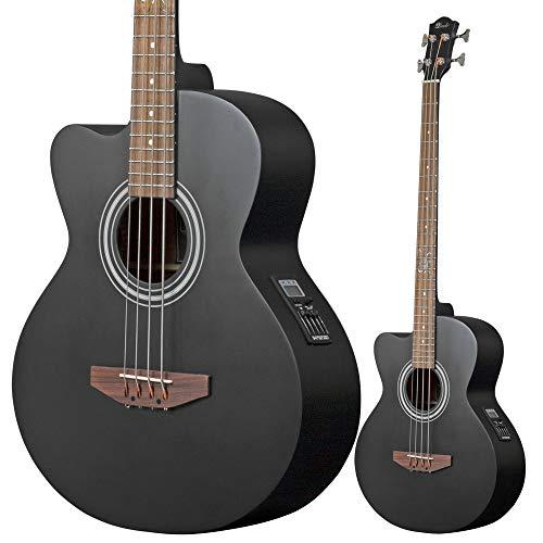 Lindo Acb Series Elektroakustische Bassgitarre für Linkshänder, Satin, Fichtendecke, mit 4-Band-EQ und Tragetasche, Mattschwarz