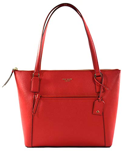 Kate Spade Cameron Saffiano Leather Pocket Tote Bag Purse Handbag for Work School Office Travel (Hot Chili)