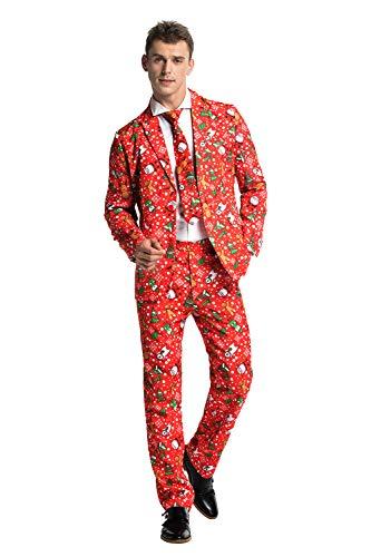 U LOOK UGLY TODAY Modisch Herren Party Anzug Weihnachten Party Suits Kostüme Festliche Anzüge in Normalem Schnitt mit lustigen Mustern inkl Jackett Hose Krawatte