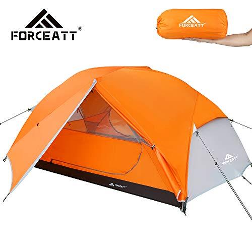 Forceatt Tenda Campeggio per 2 Persone, Impermeabile & Antivento & Resistente Parassiti 2 Porte Tenda da Campeggio Leggera, Facile da Installare, Ideale per Campeggio e attività All'aperto.
