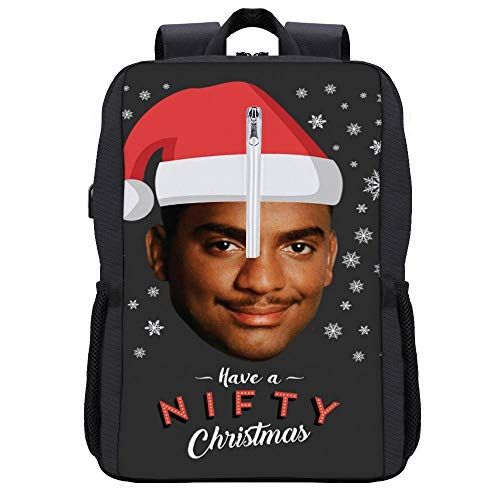 Carlton Banks Have A Nifty Christmas Fresh Prince Backpack Daypack Bookbag Laptop School Bag with USB Charging Port