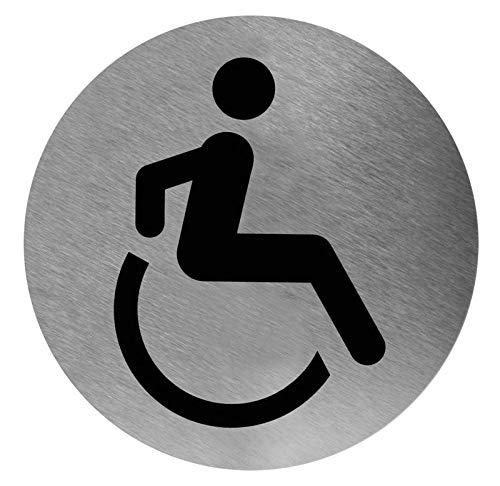 Mediclinics pictogram afbeelding invalide rond roestvrij staal voor wandmontage