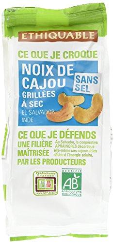 Ethiquable Noix de Cajou Salvador Grillées à Sec Sans Sel Salvador/Inde Bio et Équitable 100 g Max Havelaar - Lot de 3