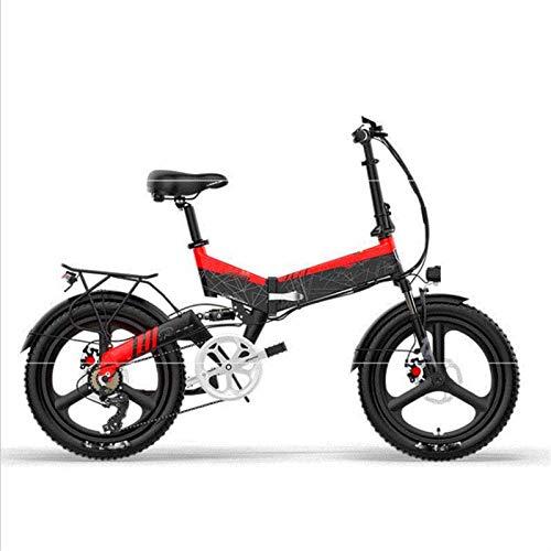 Bici electrica, Bicicleta plegable eléctrica, 20 '' for adultos Mountain City bicicleta eléctrica de 48V de la batería extraíble con anti-robo sistema de frenos de doble disco delantero y trasero Dobl