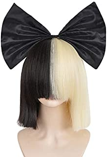 SiYi Half Blonde Black 2 Tone color Short Straight Bob Wig Synthetic Full Wigs with Bow Should Cosplay Wigs for Women Girls