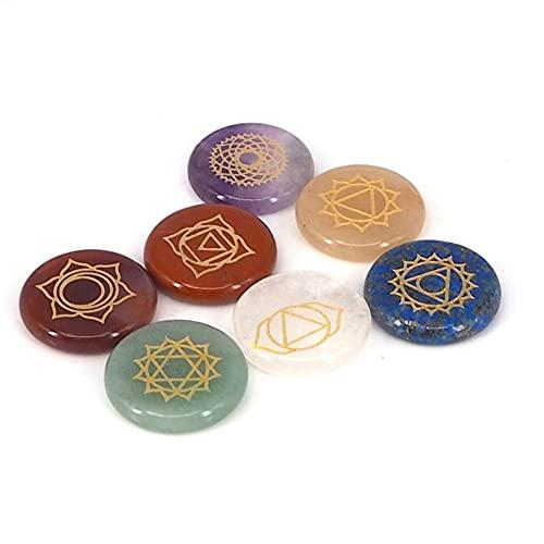 KUYIN Familiendekorationen. 7 stücke Chakra Steine Reiki heilung kristall mit gravierten Chakra Symbole holistische balancierende polierte Palme natürliche Steine (Metal Color : A)