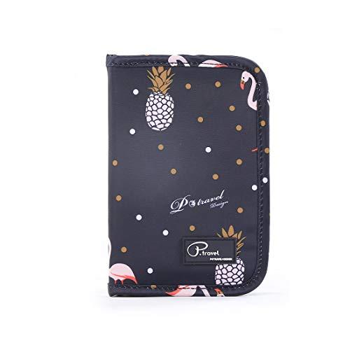 Reiseorganizer Ausweistasche für Damen & Herren, Tuscall Dokumententasche Reisepasstasche Mappe Travel Wallet Organizer für Reise-Zubehör (Flamingo)