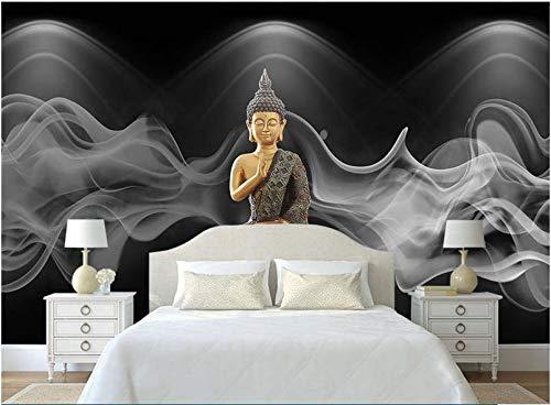 Murales de gran religión en 3D Budismo Humo Buda Murales de papel tapiz para sala de estar Fondo de sofá Mural de pared 3D Papel de pared, 150 * 105 cm