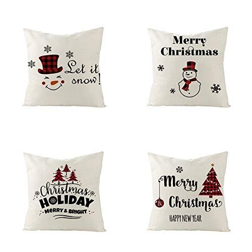 fsafa Navidad Throw Pillow Case Xmas Cushion Covers Square Linen Zapatos De Almohada De Tiro Home Decor For Living Room Sofá Couch Set De 4 (Impresión Negra, Blanco)