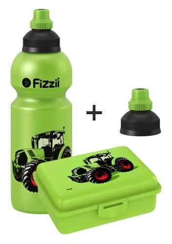 Fizzii Set Trinkflasche 600ml + Lunchbox inkl. Obst-/ Gemüsefach (schadstofffrei, spülmaschinenfest, Motiv: Trecker)