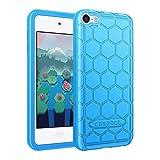 FINTIE Funda de Silicona para iPod Touch 7 / iPod Touch 6 / iPod Touch 5 - Carcasa Ligera de Silicón Antideslizante y Antichoque Apta para Niños, Azul