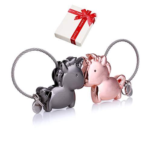 Schlüsselanhänger Paar Liebe,1 Paar Magnet Klein Schlüsselbund mit magnetischem Mund,Edelstahl Drahtseil Deko Schlüsselband für Pärchen Geschenke Liebhaber Beste Freundin (GunSchwarz RoseGold)