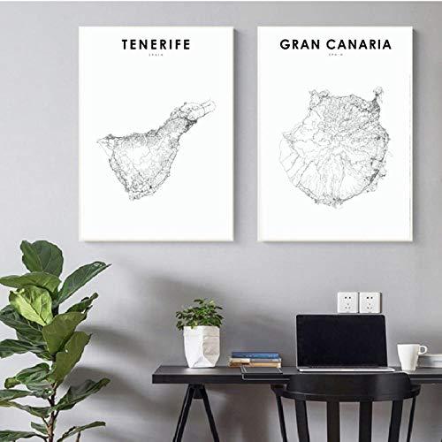 Terilizi Spaanse kaart kunst poster Gran Canaria & Teneriffa kaart afdrukken moderne muur kunst canvas schilderijen schilderijen schilderijen schilderijen kinderkamer muur kantoor decor-50X70Cmx2 geen lijst