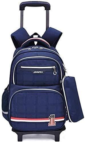 ZHLFDC 16 pulgadas Rolling Mochila rodante + bolsa de lápiz, mochila para mujer con ruedas de viaje para mujer, trolley transportable Jialele (Color : Blue)