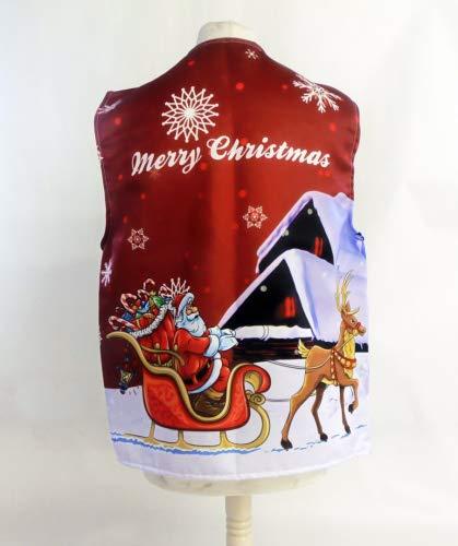 L&S PRINTS FOAM DESIGNS Santas Schlitten rot Design 1Weihnachten Design Weste Fun & Fancy für alle Anlässe Festival Parteien erhältlich S, M, L, XL, Größen erhältlich (X Groß 48–50–52)