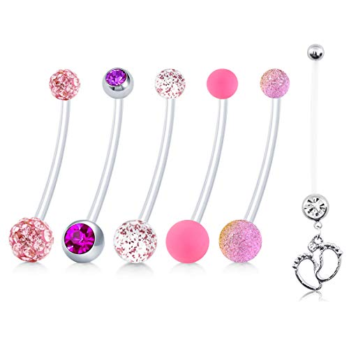 JFORYOU 6 Style Pregnancy Long Belly Button Rings Maternity Flexible Bioplast Navel Retainer Body Piercing 14G 1&1/2 Inch Length