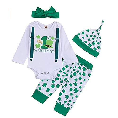 4 pcs Baby Girl Boy My First St Patricks Day Outfit Shamrocks Green Toddler Infant Onesies Bodysuit Pants Headband Cap Set Lucky Clover
