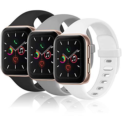 Funeng - Lote de 3 pulseras compatibles con Apple Watch 38 mm 40 mm para mujer y hombre, pulsera de silicona flexible compatible con iWatch Series 6 5 4 3 2 1 & Se (38 mm/40 mm S/M, 04 gris/blanco)