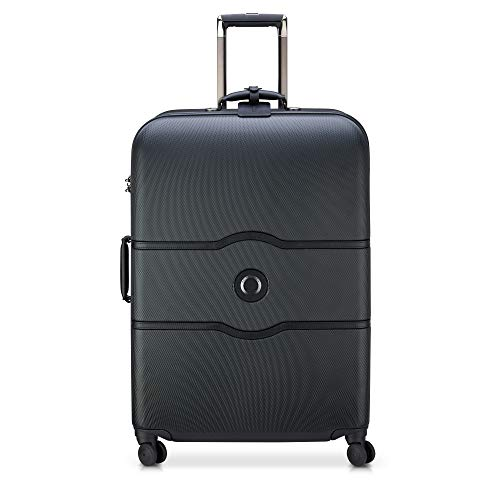 DELSEY Paris Chatelet Hard+ Hardside Luggage with Spinner Wheels, Black, Checked-Large 28 Inch,40167081000