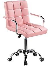 Yaheetech Bureaustoel, kunstleer, draaistoel, in hoogte verstelbaar, managersstoel met wieltjes, bureaustoel met armleuningen