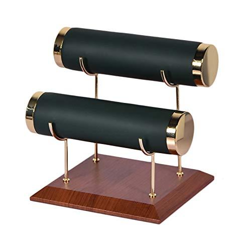 SODIAL Soporte del Reloj, Soporte de ExhibicióN de Franela de Cuero Creativo para Pulsera, Accesorios de ExhibicióN de la Joya, Verde Militar, Doble