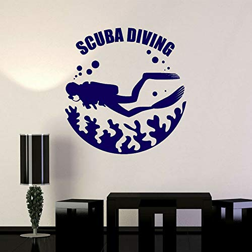 Buceo submarino buzo burbujas de agua pegatinas de pared decoración del hogar habitación océano mar calcomanías Mural extraíble A2 57x59cm