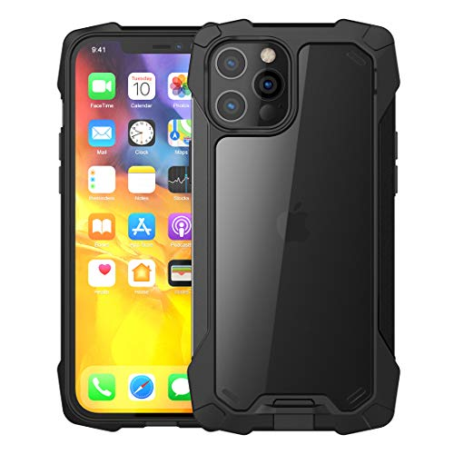 Feitenn Case Compatible with iPhone 12 Pro Max Case Rugged 6.7'', Armor Tough Dual Layer Cover TPU PC Clear Crystal Shell Bumper Shockproof Dropproof Defender for iPhone 12 Pro Max 6.7 inch - Black