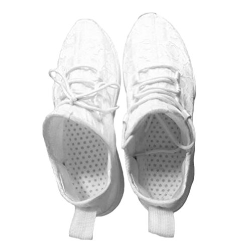 Zapatillas de Deporte Unisex Luminosas LED, Zapatos de Encaje, Zapatos de Ocio Coloridos y Brillantes para Fiestas, Baile, Hip-Hop, Ciclismo, Correr, Blanco, 43 Uniquelove