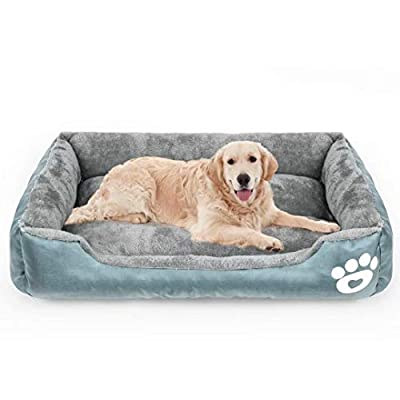 Calming Dog Bed, Warming Washable Rectangle Sleeping Orthopedic Sofa Pet Bed with Breathable Soft Cotton and Coral Fleece, Non-Slip Bottom for Large Medium Small Dogs and Cats.