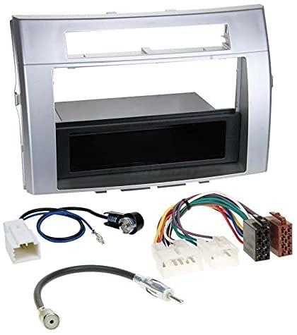 Sound-way Kit Montage Autoradio, Cadre Façade 1 DIN / 2 DIN avec Vide Poche, Adaptateur Antenne, Cable Adaptateur Connecteur ISO Compatible avec Toyota Corolla, Verso