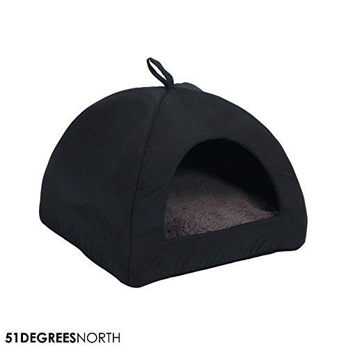 51 Degrees North Gato Cueva Gris Negro, Sheep Collection Manta Cueva para Gatos y Perros, Lavable, Grey Black, 40x 40x 36cm