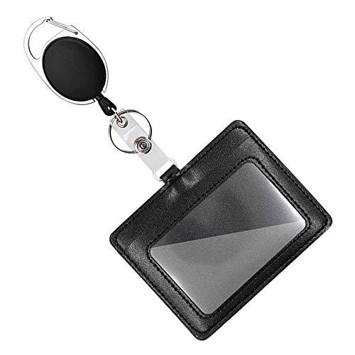 Mczcent Leder Ausweishülle mit Ausweis Jojo, Horizontal Ausweishalter Jojo mit Retractable Badge Reel und Clip, ID Card Badge Holder Kartenhalter mit Keyholder für Schlüsselanhänger ID Card, 1 Pack
